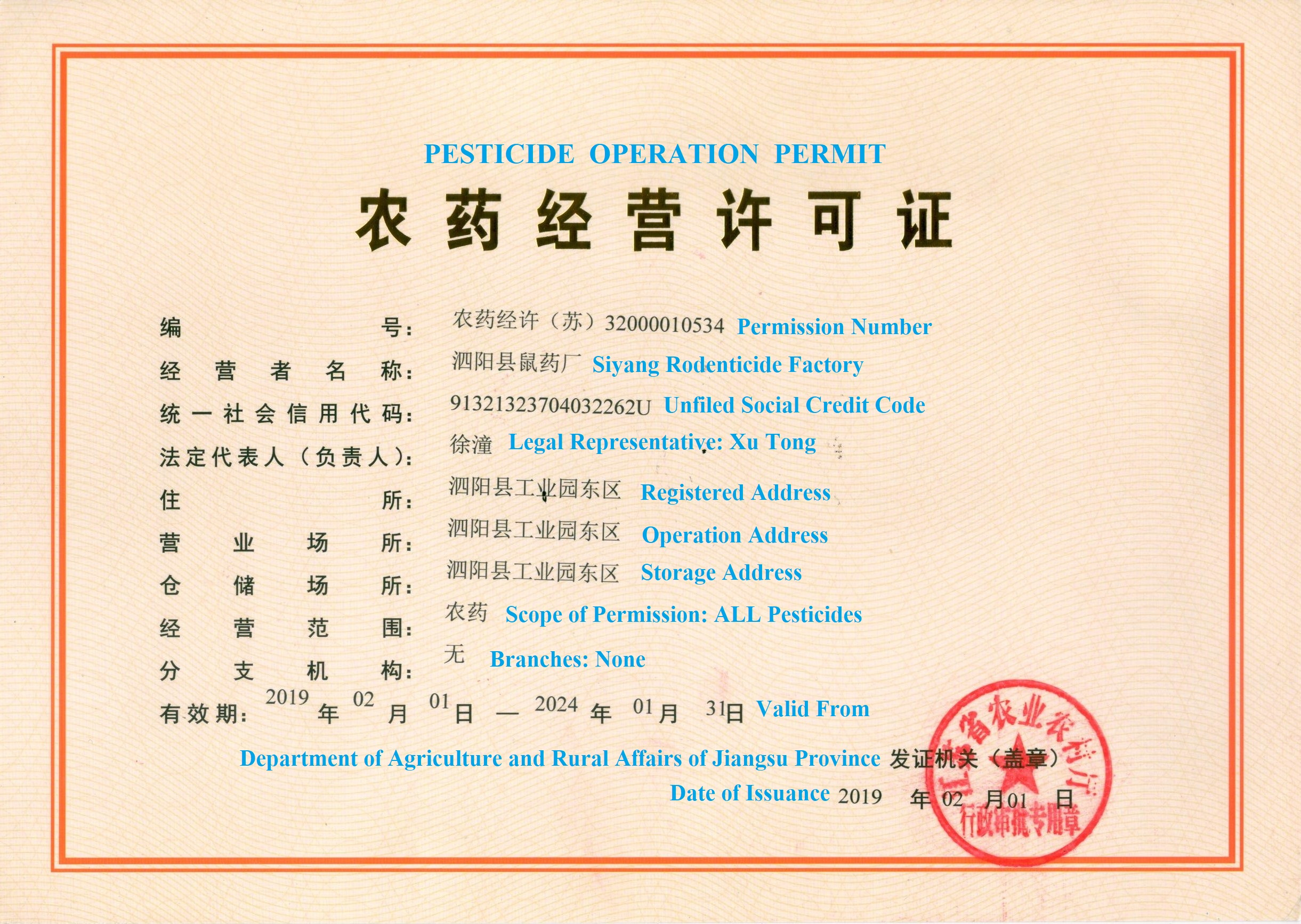 Restricted China rodenticides